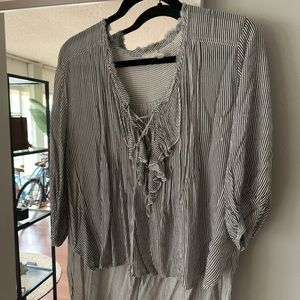 FREE PEOPLE STRIPED BLOUSE XS/S